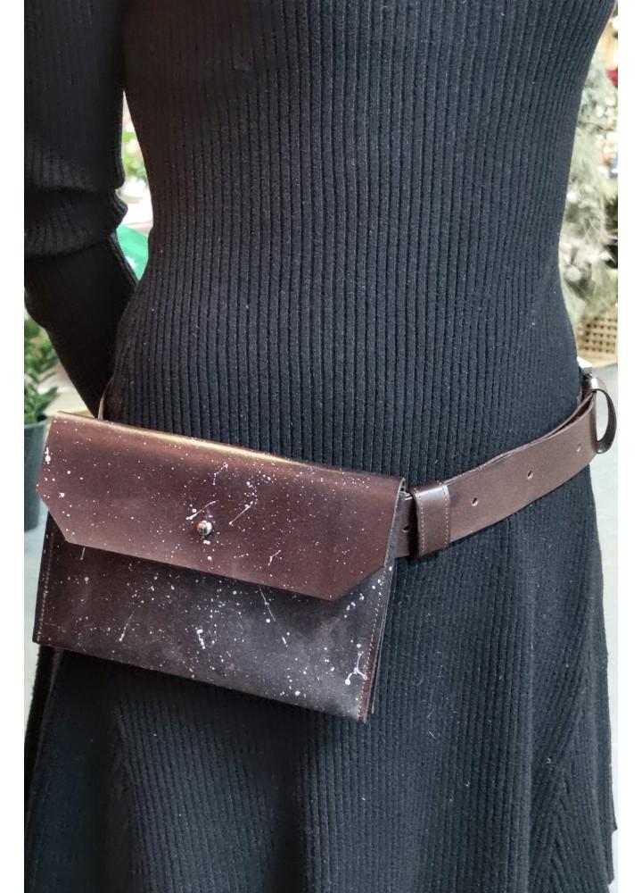 Поясная сумка из натуральной кожи с ручным окрашиванием