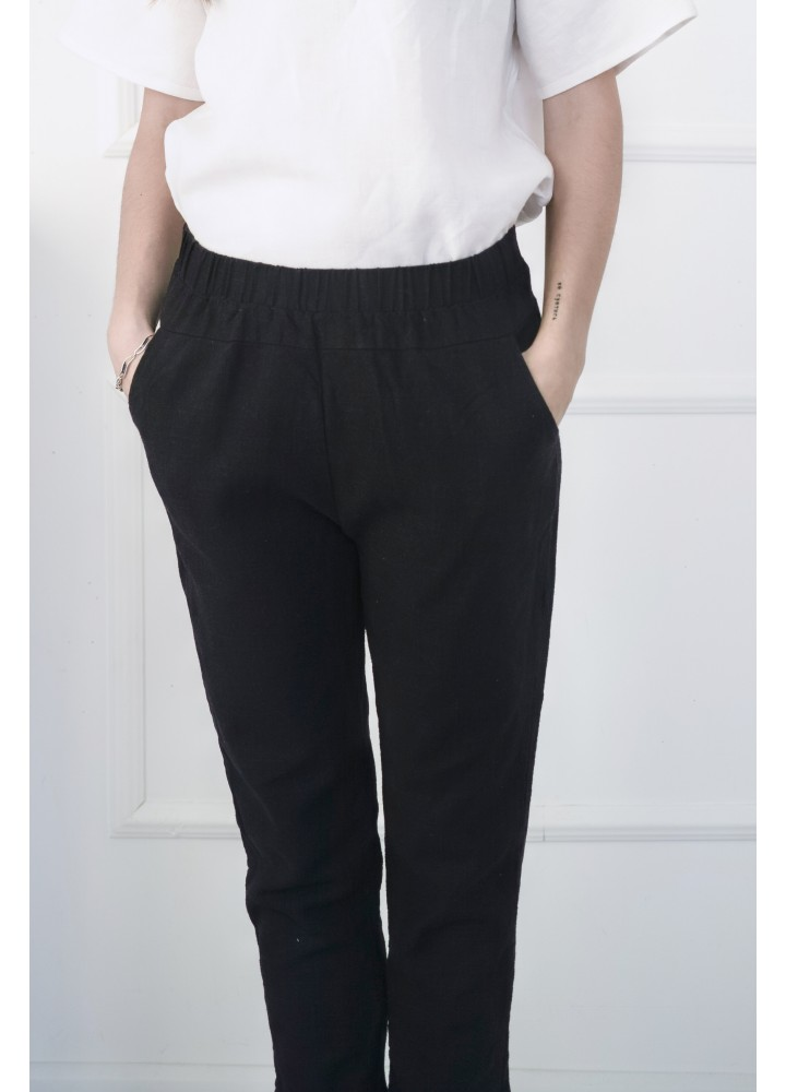Льняные черные брюки