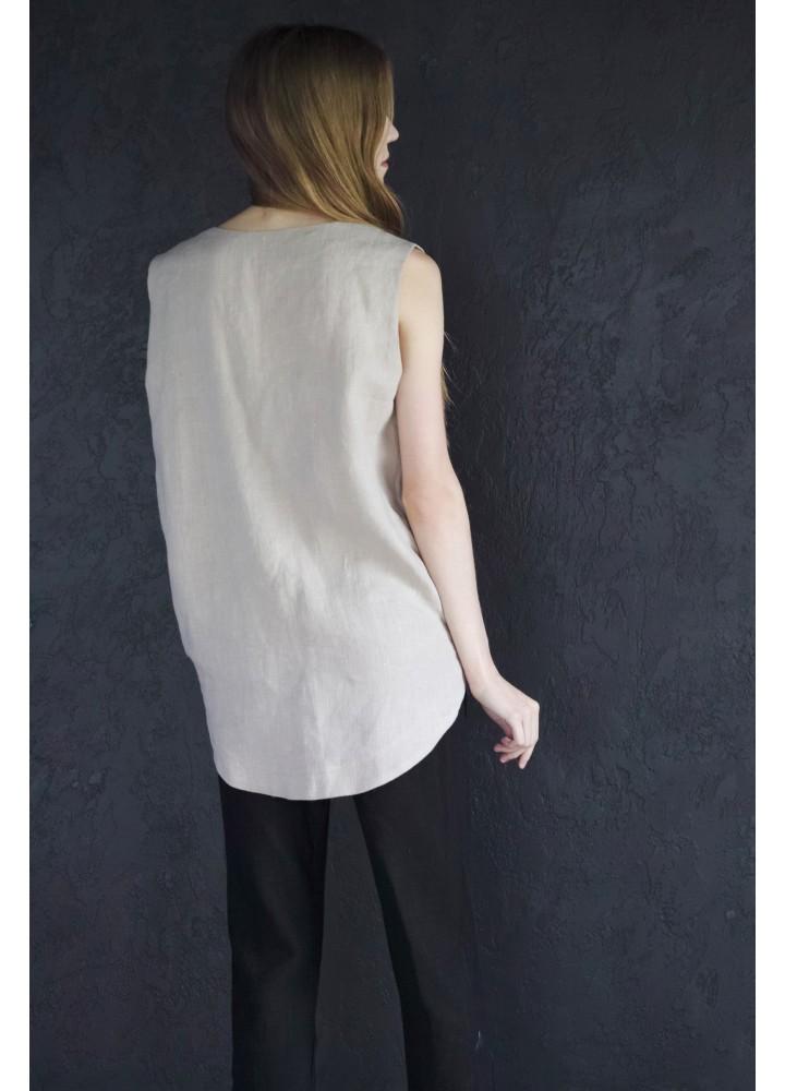 Льняная блузка без рукавов