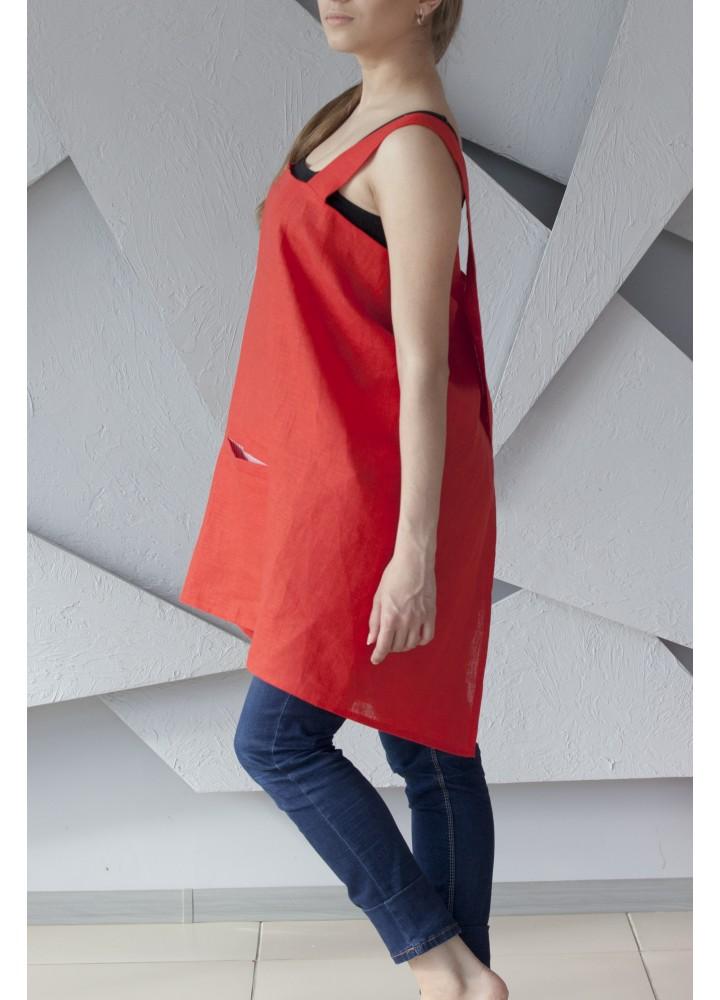 Японский фартук из красного льна c  контрастным карманом