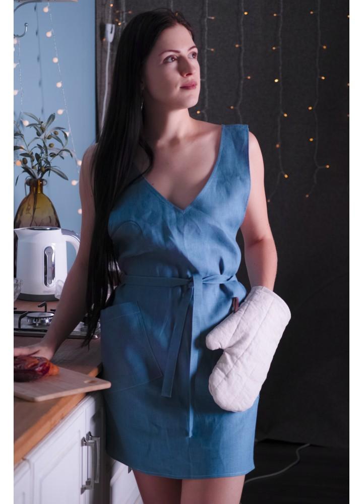 Фартук-платье с поясом Ультрамарин