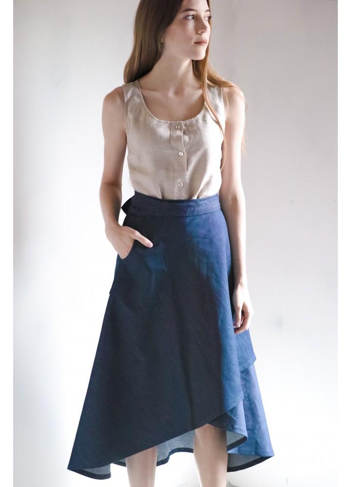 Джинсовая юбка Ассиметрия