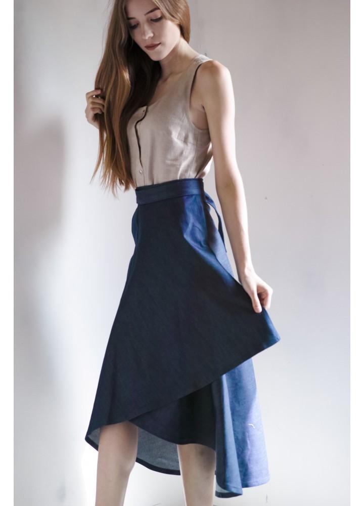 Джинсовая юбка с запахом на завязках