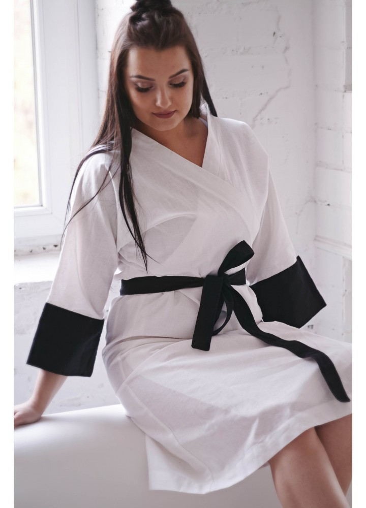 Льняной халат-кимоно для дома и бани