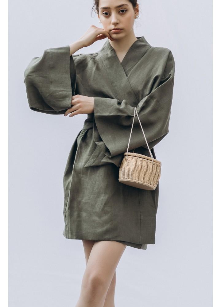 Льняной халат кимоно