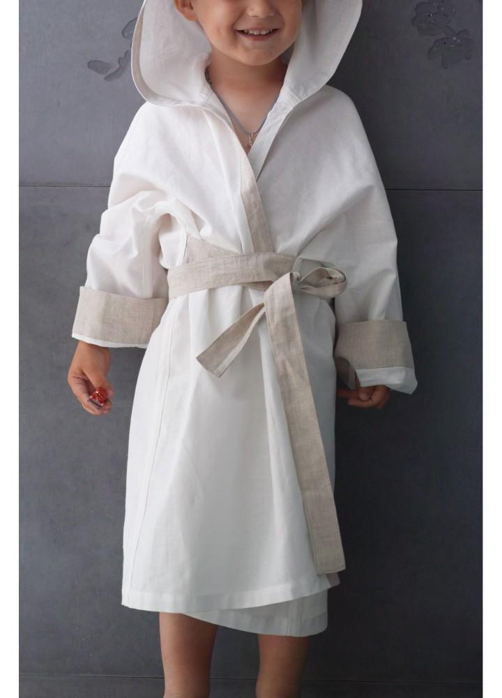 Детский льняной халат с полотенцем