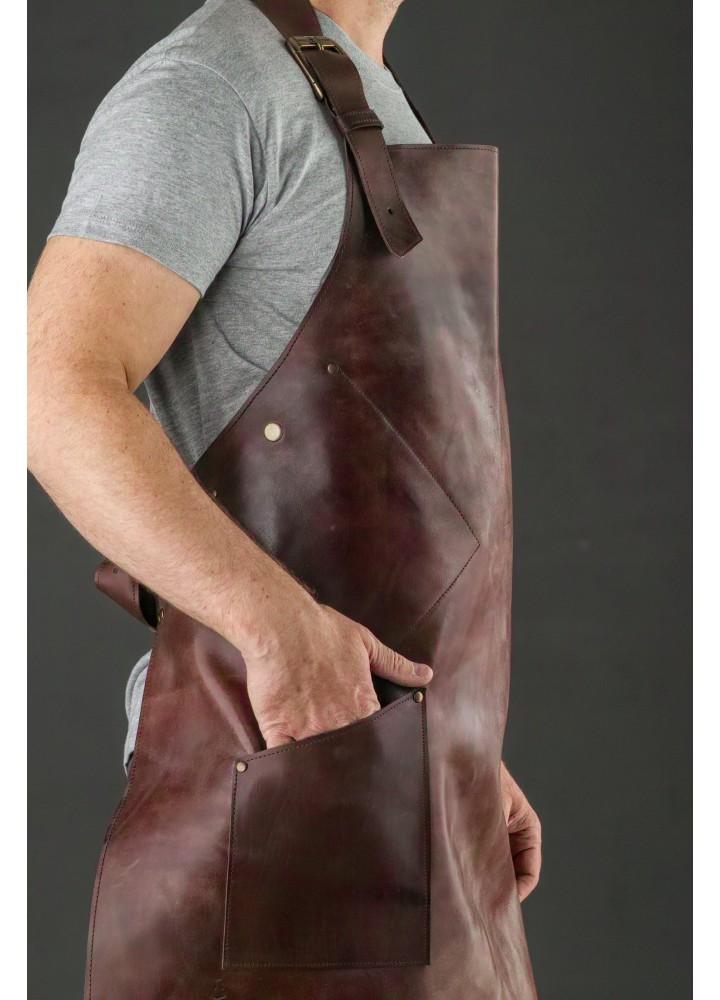 """Фартук с именной гравировкой из натуральной кожи """"Аристократ"""" цвет: Коричневый"""