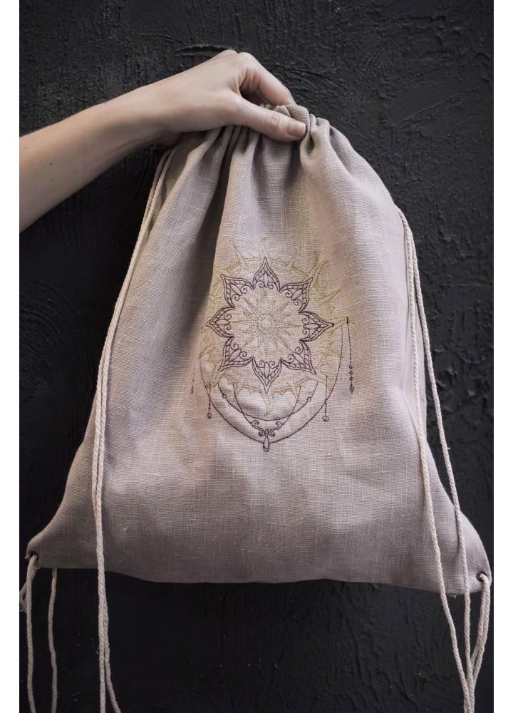 Рюкзак мешок на верёвках из льна