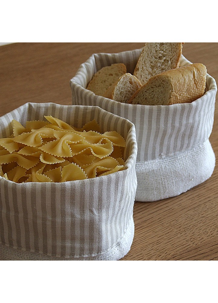 Льняной мешочек-корзинка для сыпучих продуктов