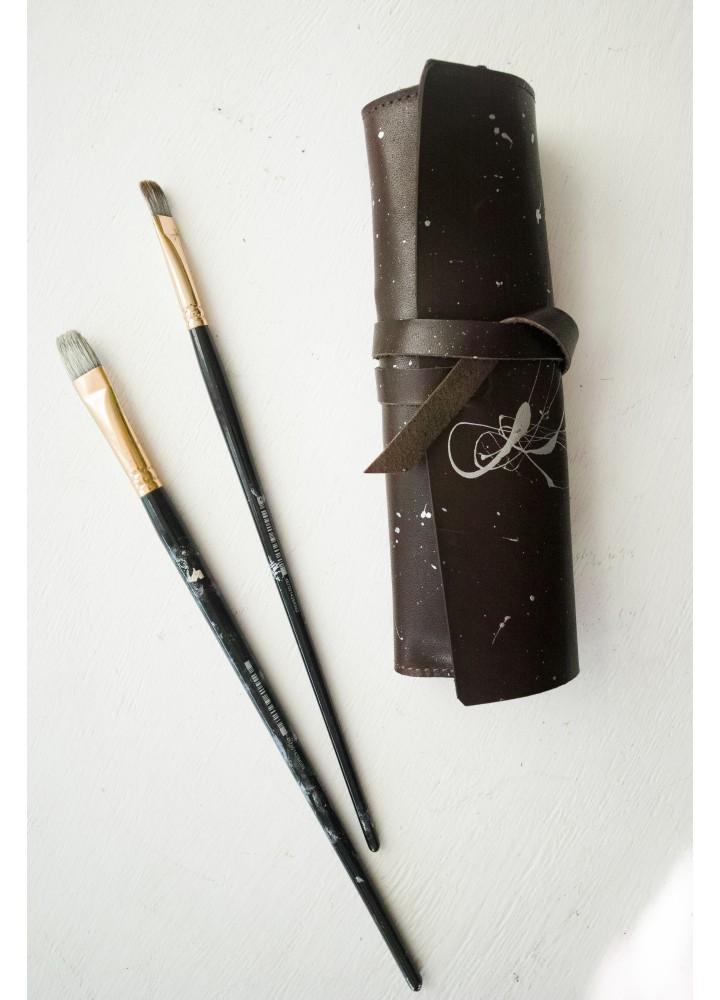 Пенал из кожи с ручным окрашиванием для карандашей и ручек
