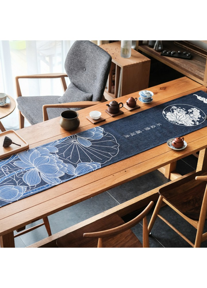 Льняная дорожка для стола тёмно-синяя