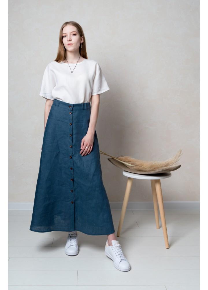 Длинная льняная юбка на пуговицах