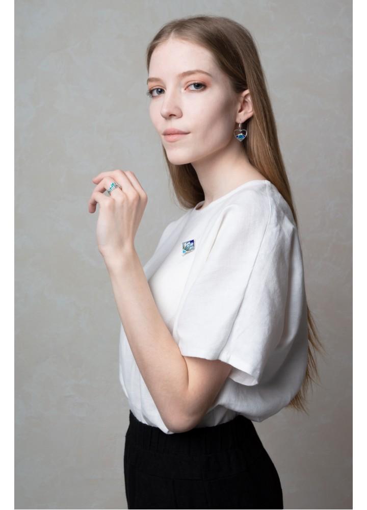 Льняная блуза с коротким рукавом